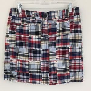 Ann Taylor Loft Madras Plaid Skirt Patch